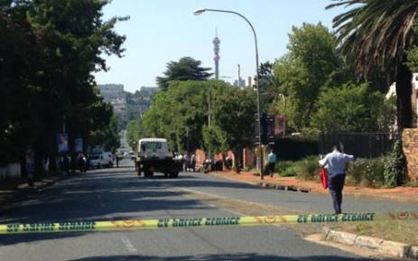 The scene on Oxford Road where a car apparently collided with a tree on 10 January 2013, killing two people. Picture: Katy Katopodis/EWN