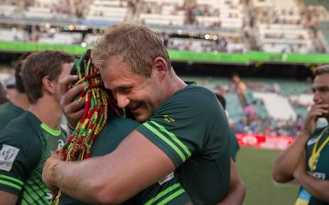 Blitzbok Captain Philip Snyman celebrates after winning the Dubai tournament in 2016. Picture: Twitter/@snymanphilip