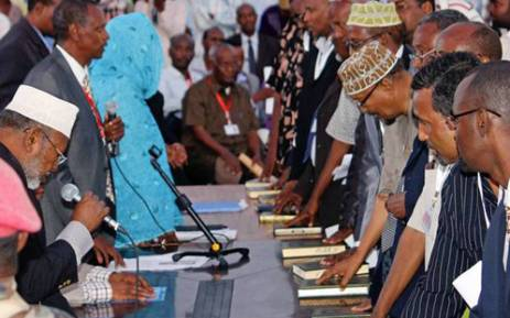 New Members of Parliament are being sworn in, in Somalia. Picture: AFP.