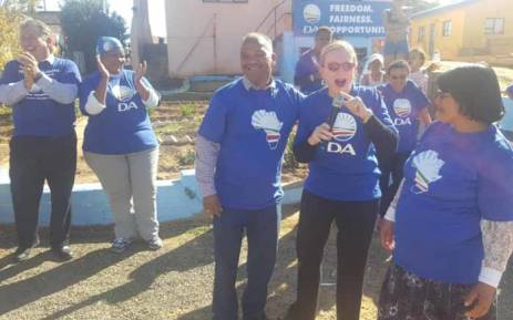 FILE: Western Cape Premier Helen Zille is seen with Democratic Alliance supporters while campaigning in Cape Town ahead of August by-election. Picture: Twitter/@helenzille.