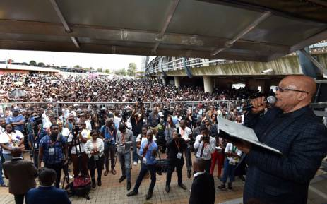President Jacob Zuma addressing the Cosas Rally at Orlando Stadium in Soweto on 18 March 2016. Picture: GCIS.