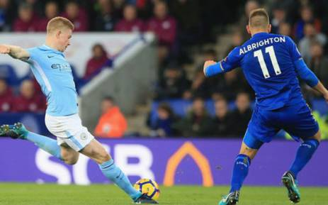 Manchester City's Kevin de Bruyne unleashes a shot. Picture: @ManCity/Twitter