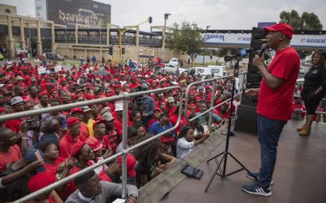 FILE: EFF leader Julius Malema addressing members outside Chris Hani Baragwanath Hospital as the political party held a demonstration demanding improvements in public health care. Picture: Ihsaan Haffejee/EWN