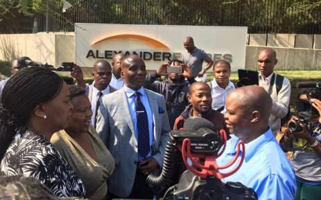 Transport Minister Joe Maswanganyi and acting Transport MEC Nandi Mayathula-Khoza on a walkabout at the Sandton Gautrain Station. Picture: Thando Kubheka/EWN.