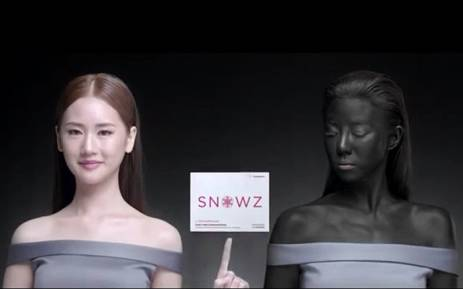The ad features one actress whose skin gets darker next to a rival with light skin. Picture: @RichardBarrow via Twitter.