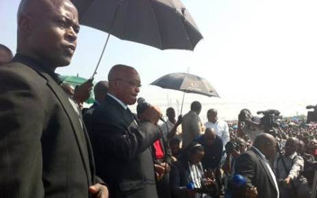 President Jacob Zuma returned to Marikana in the North West on 22 August 2012 to address striking Lonmin mineworkers. Picture: Gia Nicolaides/EWN.