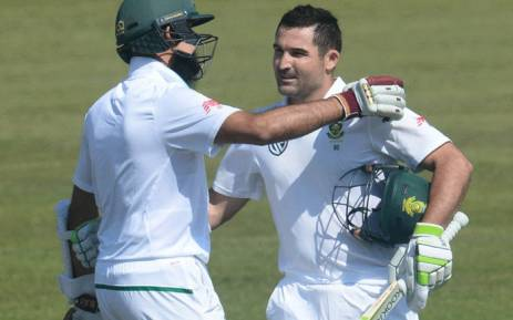FILE: The Proteas' Hashim Amla (L) and Dean Elgar (R) pictured during a test match against Bangladesh on Friday 29 September 2017. Picture: @OfficialCSA/Twitter