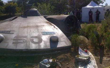 The mock site of a UFO crash near Sandton Drive. Picture: Twitter