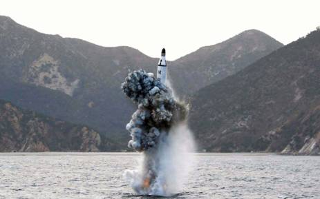 FILE: This picture released from North Korea's official Korean Central News Agency (KCNA) on April 24, 2016 shows the underwater test-fire of a strategic submarine ballistic missile at an undisclosed location in North Korea on 23 April, 2016. Picture: AFP.