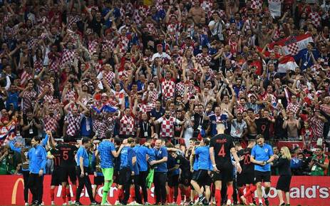 Croatia's players celebrate with the fans after their win in the Russia 2018 World Cup semi-final football match between Croatia and England at the Luzhniki Stadium in Moscow on July 11, 2018.  Picture: AFP
