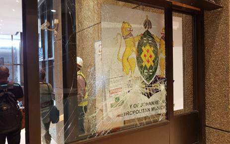 Property was damaged when violence broke out at the Johannesburg City Council. Picture: Cllr Sarah Wissler via Twitter.