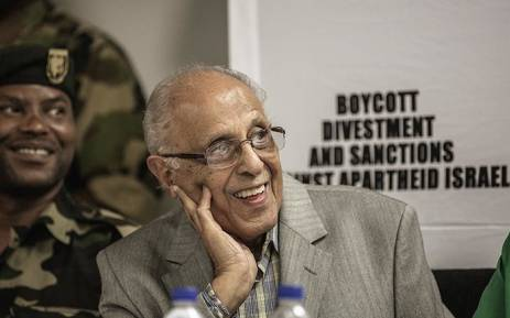 FILE: Ahmed Kathrada looks on as Palestinian Liberation Front veteran Leila Khaled (not in picture) speaks at a press conference upon her arrival at the OR Tambo international Airport on February 6, 2015 in Johannesburg. Picture: AFP