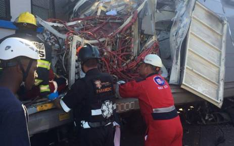 FILE. EMS members trying to free the trapped train driver at Denver station in April 2015. Picture: @MedixGauteng.