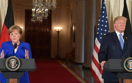 German Chancellor Angela Merkel speaks during a joint press conference with US President Donald Trump at the White House on 27 April 2018 in Washington, DC. Picture: AFP.a