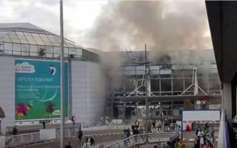 A screengrab of Brussels Airport after two explosions took place on Tuesday 22 March 2016. Picture: Youtube.