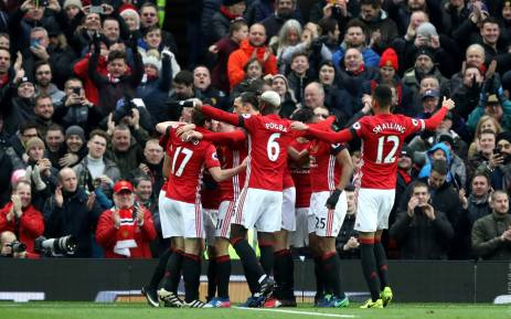 Manchester United players celebrate their comfortable 2-0 victory over Watford at Old Trafford. Picture: Twitter/@ManUtd.