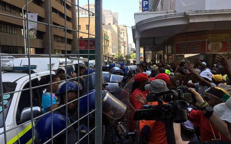 Several protesters clashed with public order police in Cape Town ahead of Sona 2016. Picture: Xolani Koyana/EWN.