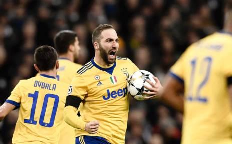 Juventus forward Gonzalo Higuain celebrates his goal against Tottenham Hotspur in the Uefa Champions League second-leg on 7 March 2018. Picture: Facebook