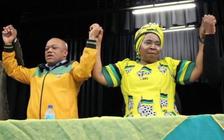 Nkosazana Dlamini-Zuma (R) at the Empangeni Town Hall in the Musa Dladla region of KZN to address an ANC Cadres Forum. Picture: @DlaminiZuma.