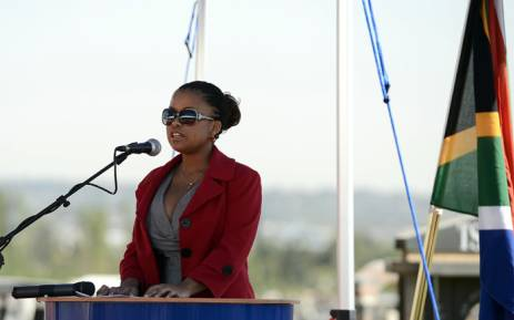 FILE. Lindiwe, daughter of the late anti-apartheid activist Chris Hani delivers a speech during the 20th anniversary of the assassination of Chris Hani on 10 April 2013 at the Thomas Titus Nkombi Memorial Park in Elspark. Picture: AFP