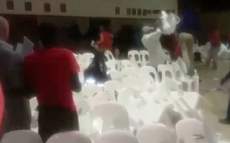 A screengrab of the fight at a meeting hosted by Mayor Herman Mashaba in Midrand.