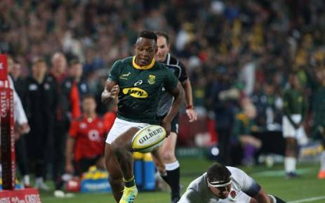 Springboks' Sbu Nkosi in action during the team's match against England at Emirates Airline Park. Picture: @Springboks/Twitter.