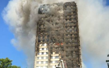FILE: The Grenfell Tower apartment block on fire. Picture: @LondonFire/Twitter