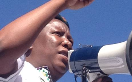 Former ANCYL leader Julius Malema speaks to striking miners at Gold Fields' KDC gold mine in Westonaria on 3 September, 2012. Picture: Govan Whittles/EWN.