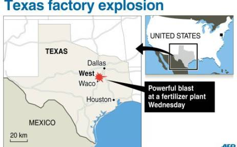 A graphic showing the town of West in Texas, US, where a major explosion at a fertiliser plant took place. Picture: al/js/gal/AFP