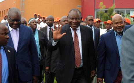 President Cyril Ramaphosa at the Riversands Incubation Hub, Johannesburg on 27 March 2018 to launch the Youth Employment Service. Picture: @PresidencyZA/Twitter