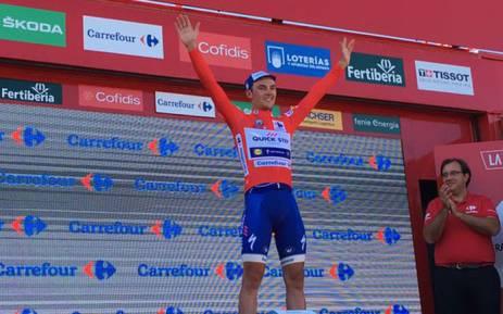 Yves Lampaert celebrates a stage victory on the Vuelta a Espana on 20 August 2017. Picture: @lavuelta/Twitter