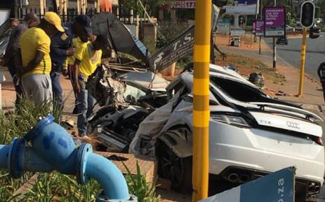 The aftermath of a crash scene on Rivonia Road on 10 September 2017. Picture: @crimeairnetwork