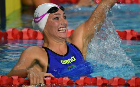 Tatjana Schoenmaker celebrates her win in the Women's 200m Breaststroke final at the Commonwealth Games in Australia on 7 April 2018. Picture: AFP