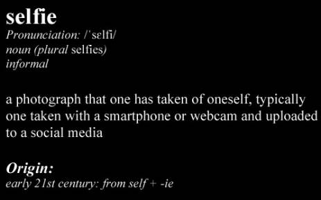 The dictionary definition of 'selfie'.