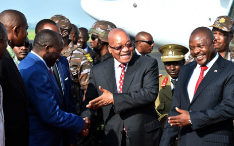 President Zuma is welcomed by President Pierre Nkurunziza on arrival at the Bujumbura international Airport in the Republic of Burundi. Picture: GCIS.