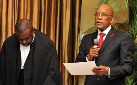 Judge President of the Western Cape High Court, Justice John Hlophe swearing in the new Minister of Transport Ben Martins at a ceremony held at Tuynhuis in Cape Town. Picture: GCIS.
