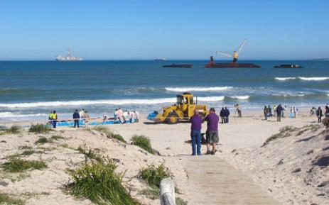 The wreck of the Seli 1 oil tanker. Picture: Aletta Gardner/EWN.