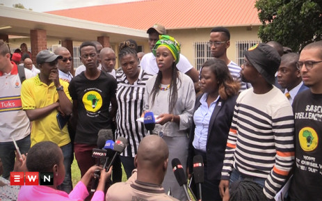 Wits University SRC president Nompendulo Mkhatshwa stood with other student leaders from across SA to state the demands they will put before higher education minister Dr Blade Nzimande in the 2016 #FeesMustFall campaign.Picture: Kgothatso Mogale/EWN