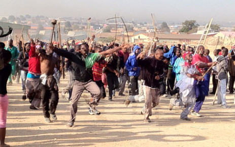 Marlboro residents protest after being evicted from buildings they were illegally occupying. Picture: Christa van der Walt/EWN