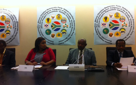 The IFP's Mangosuthu Buthelezi, DA's Lindiwe Mazibuko, COPE's Mosiuoa Lekota and ACDP's Kenneth Meshoe at a briefing where they announced their intention to raise a motion of no-confidence in President Jacob Zuma. Picture: Rahima Essop/EWN.