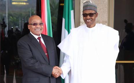 President Jacob Zuma with his Nigerian counterpart President Muhammadu Buhari. Picture: Samson Omale/EWN.