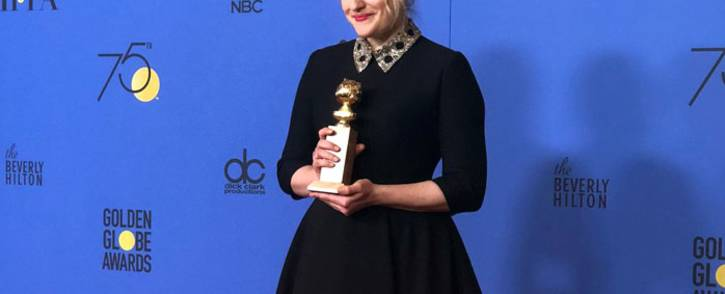 Elisabeth Moss won the award for best performance by an actress in a series for her role in the Handmaid's Tale at the Golden Globes on Sunday 7 January 2018. Picture: Twitter/@goldenglobes
