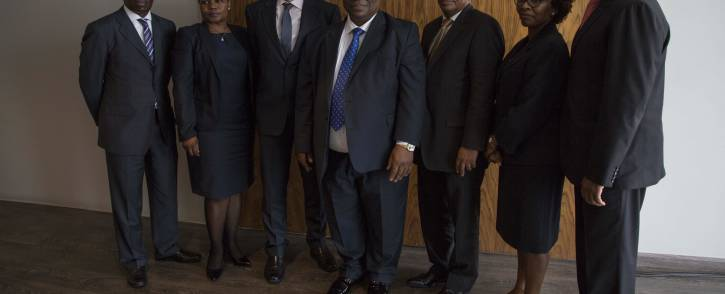 Deputy Chief Justice Raymond Zondo (centre), who chairs the commission, announced the team of six officials he appointed to assist him at Office of the Chief Justice in Midrand, Johannesburg. Picture: Ihsaan Haffejee/EWN