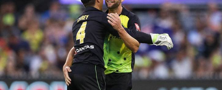 Alex Carey and Kane Richardson have been awarded central contracts by Cricket Australia: Picture: Twitter/@CricketAus