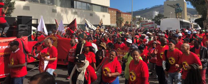 Saftu members making their way to Parliament in Cape Town during a demonstration against proposed minimum wage. Picture: Graig-Lee Smith/EWN.