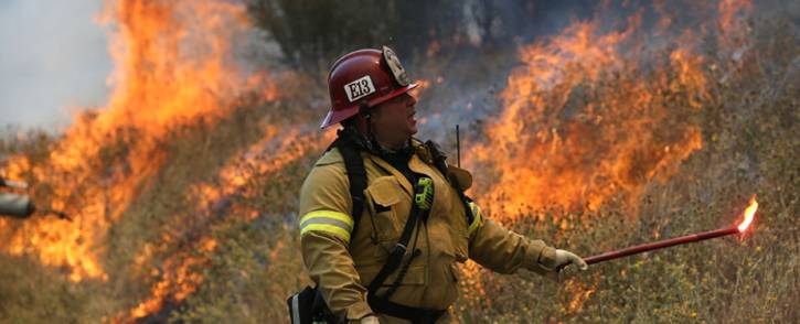 A Long Beach Fire Department fire captain uses a flare to burn dry grass during a backfire operation to head off the Rocky Fire on 3 August, 2015 near Clearlake, California. Picture: AFP.