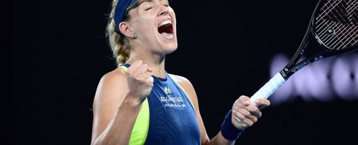 Angelique Kerber of Germany celebrates winning against Maria Sharapova of Russia in the Australian Open at Rod Laver Arena, Melbourne, Australia on January 20, 2018. Picture: @AustralianOpen/Twitter.
