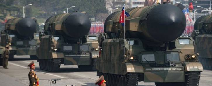 FILE: An unidentified rocket is displayed during a military parade marking the 105th anniversary of the birth of late North Korean leader Kim Il-Sung in Pyongyang on 15 April 2017. Picture: AFP.