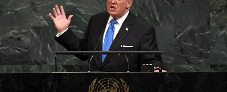 US President Donald Trump addresses the 72nd Annual UN General Assembly in New York on September 19, 2017. Picture: AFP