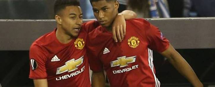 Manchester United striker Marcus Rashford (right) and teammate Jesse Lingard celebrate a goal. Picture: Facebook.